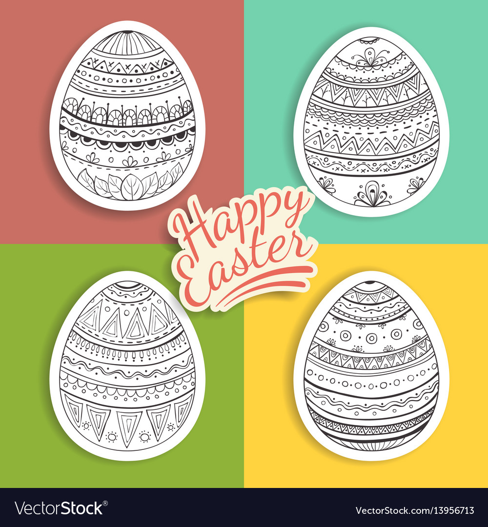 Set of easter eggs stickers with fantasy patterns