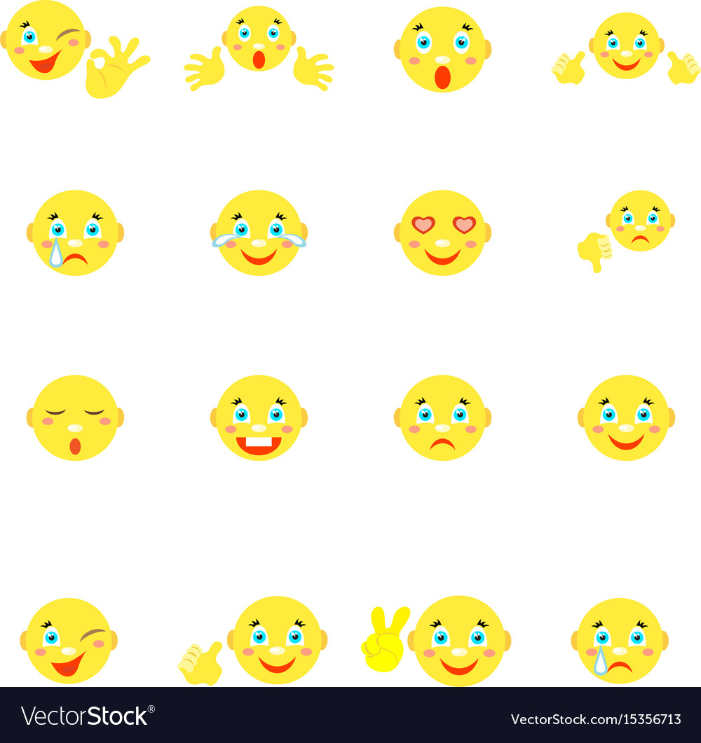 Smilies with different emotions and gestures