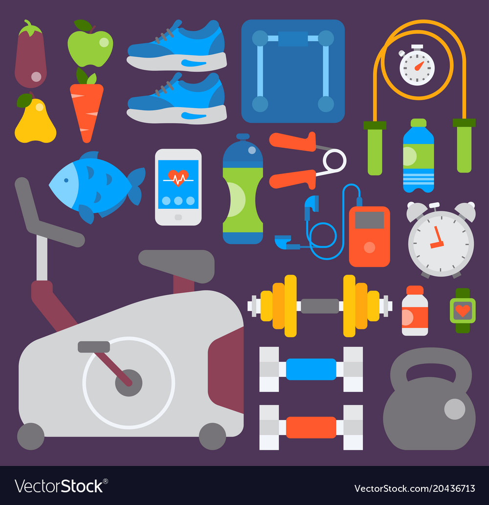 Sport gym fitness equipment inventory and vector image