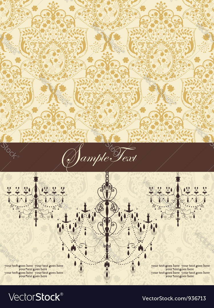 Vintage damask invitation card with chandelier