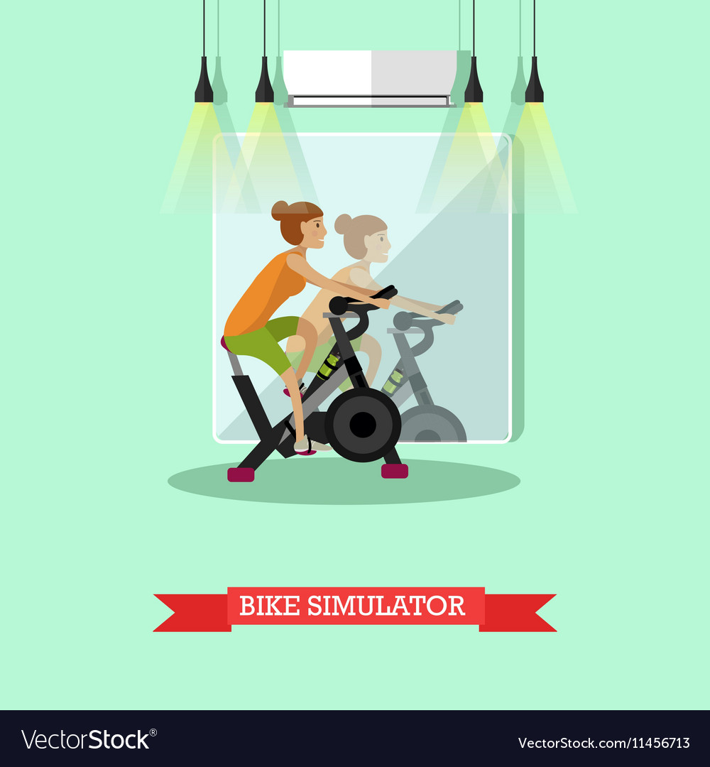 Woman working out on exercise bike in fitness vector image