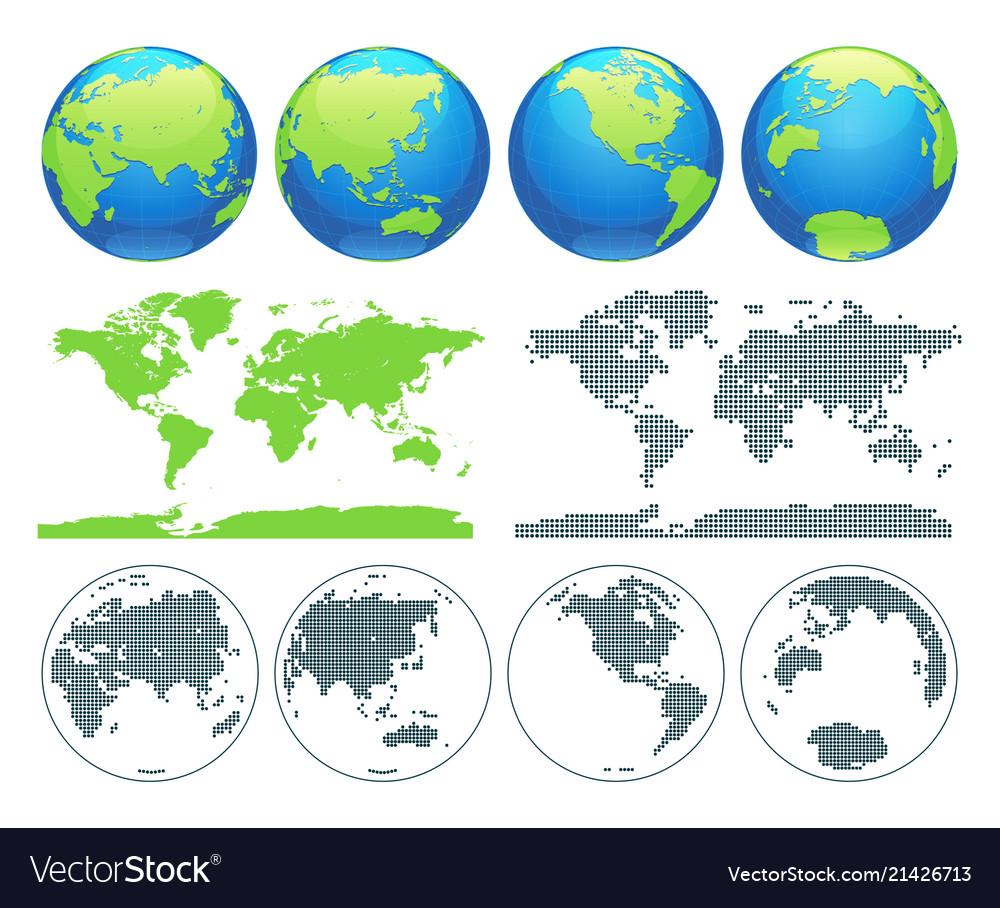 World globes and world map