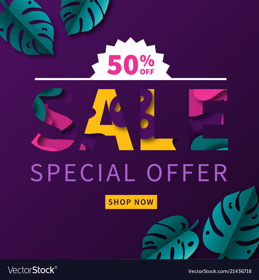 Abstract paper cut shapes sale concept