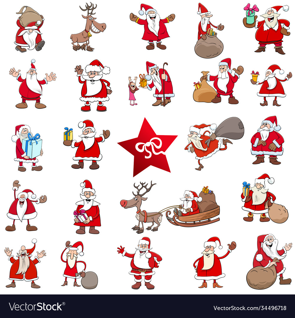 Christmas cartoon characters big set