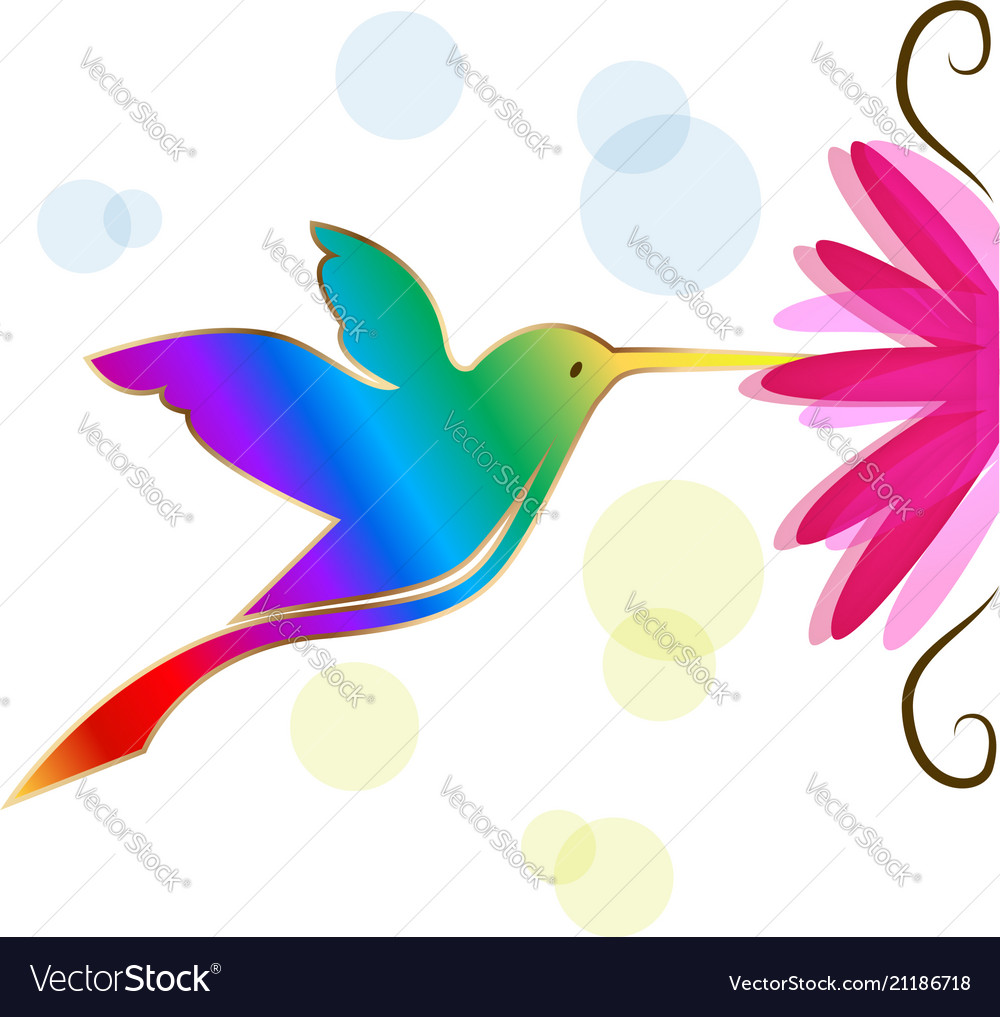 Colorful Hummingbird Symbol Royalty Free Vector Image