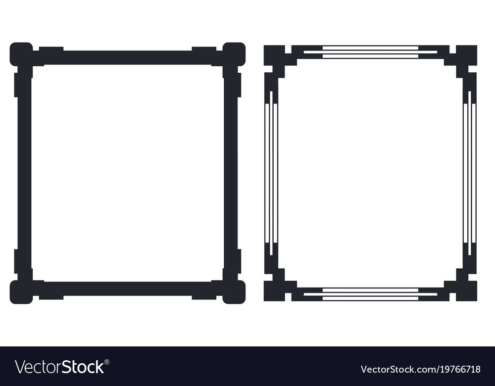 Colorless Black Frames With Decorative Corners Vector Image