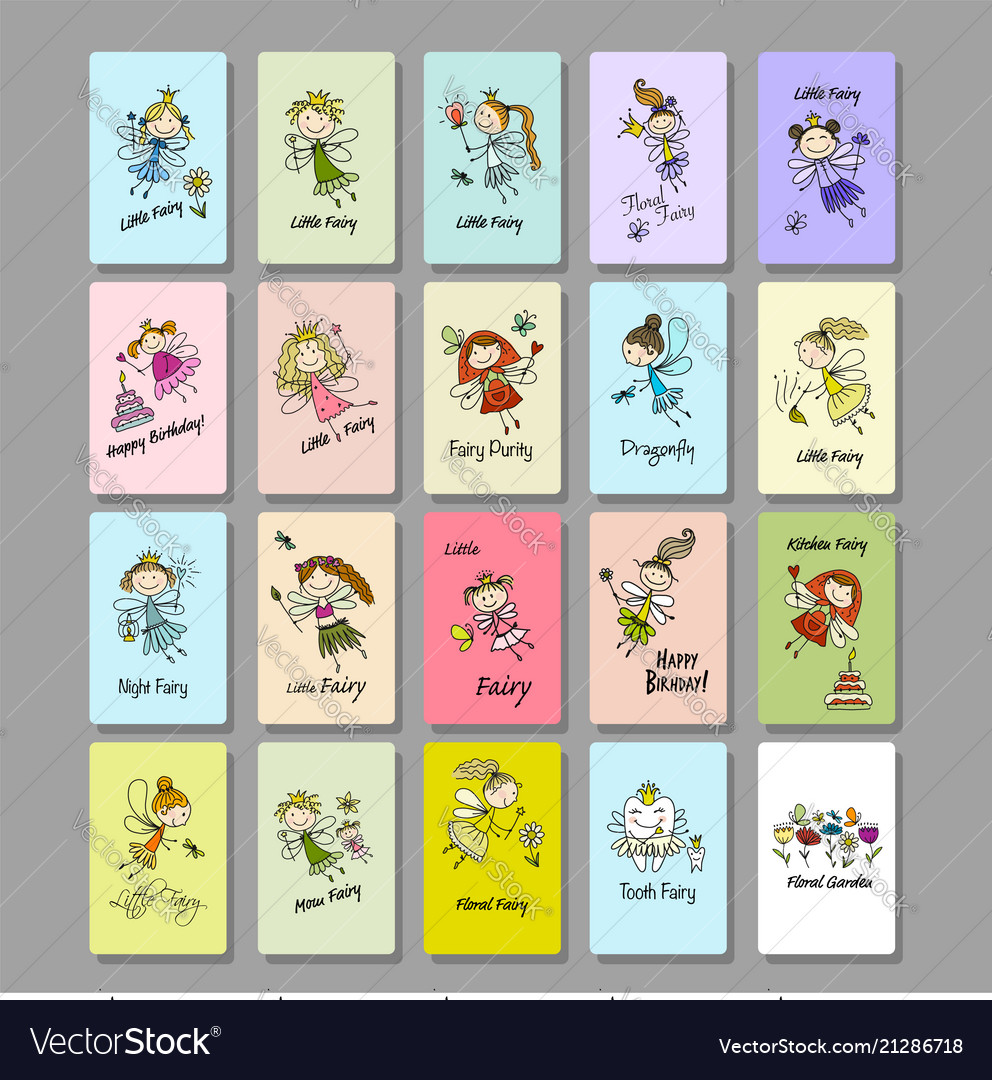 Cute little fairies collection cards for your