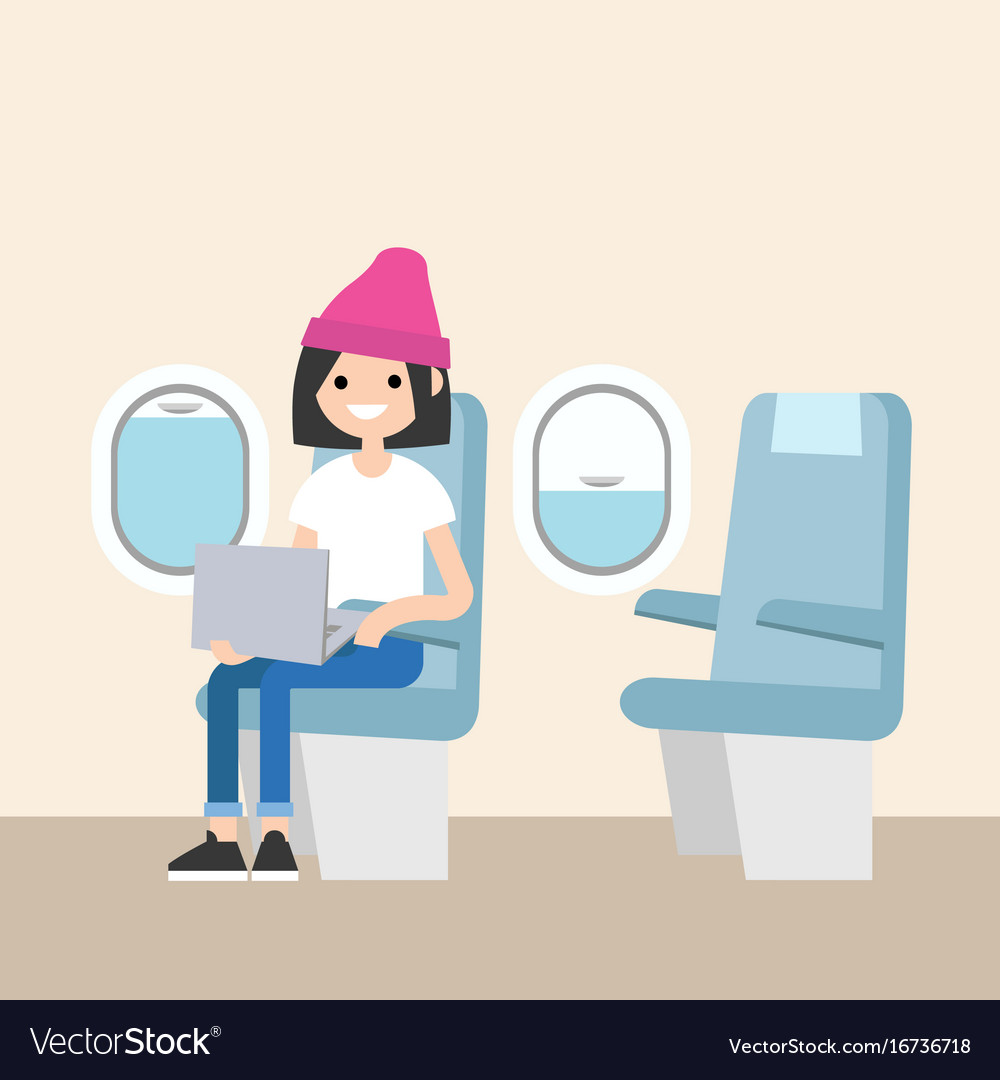 Cute teenage girl sitting on the plane editable vector image
