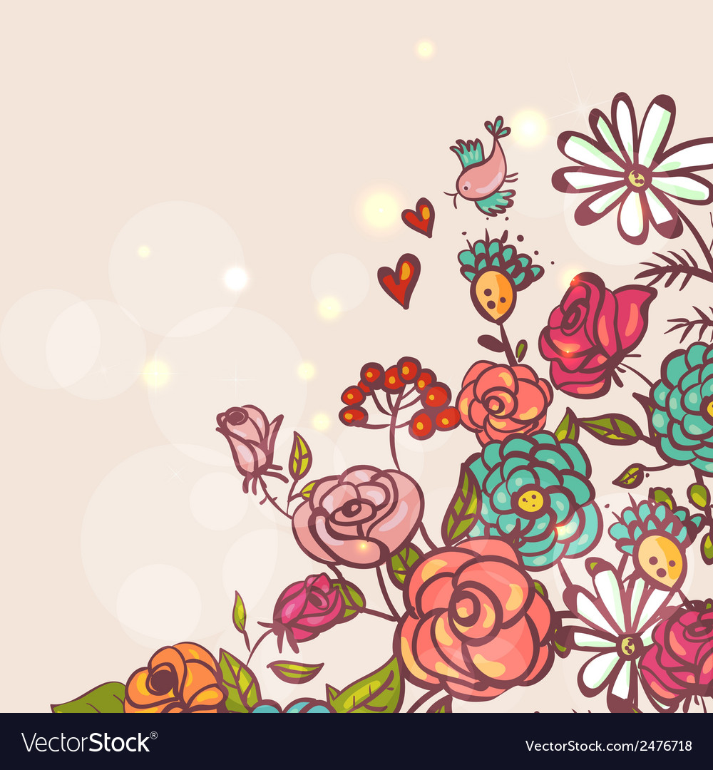 Floral background with roses and birds