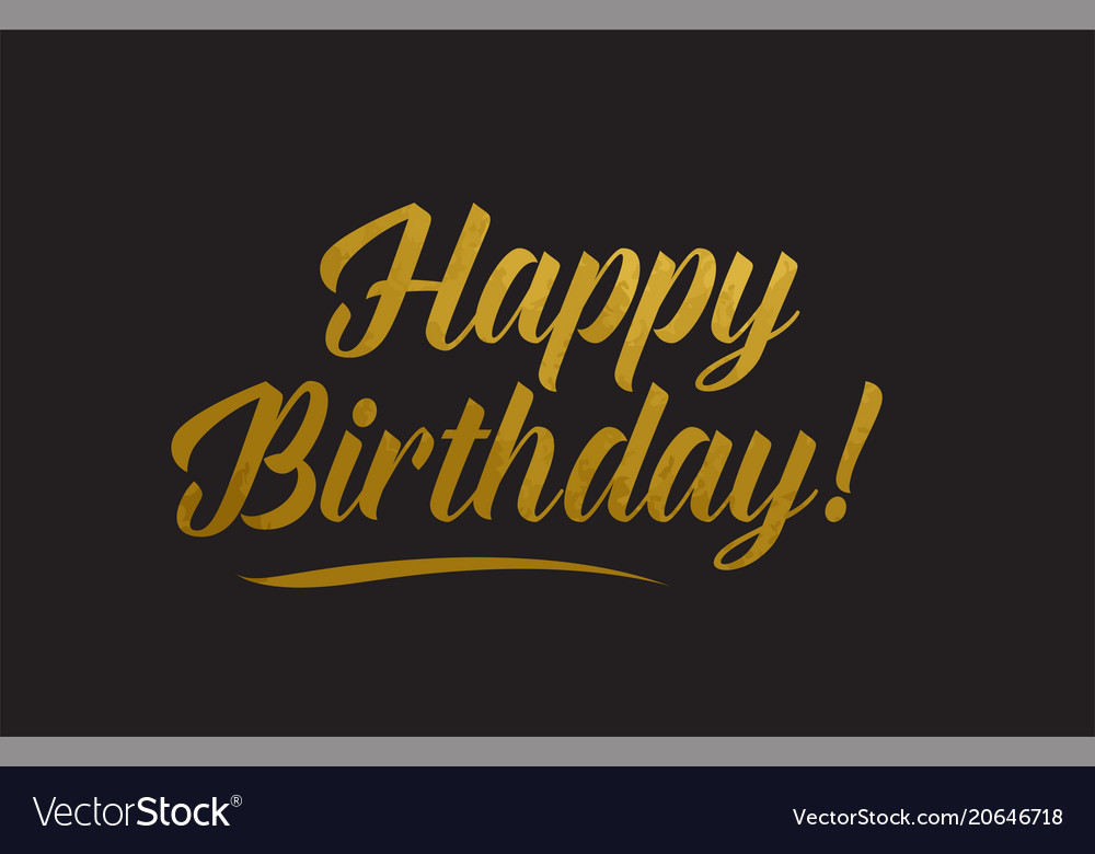 Happy birthday gold word text typography