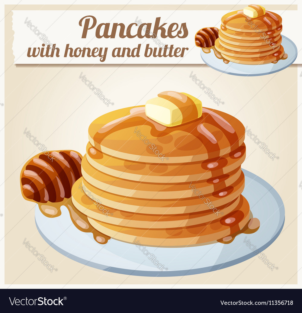 Pancakes with honey and butter Cartoon