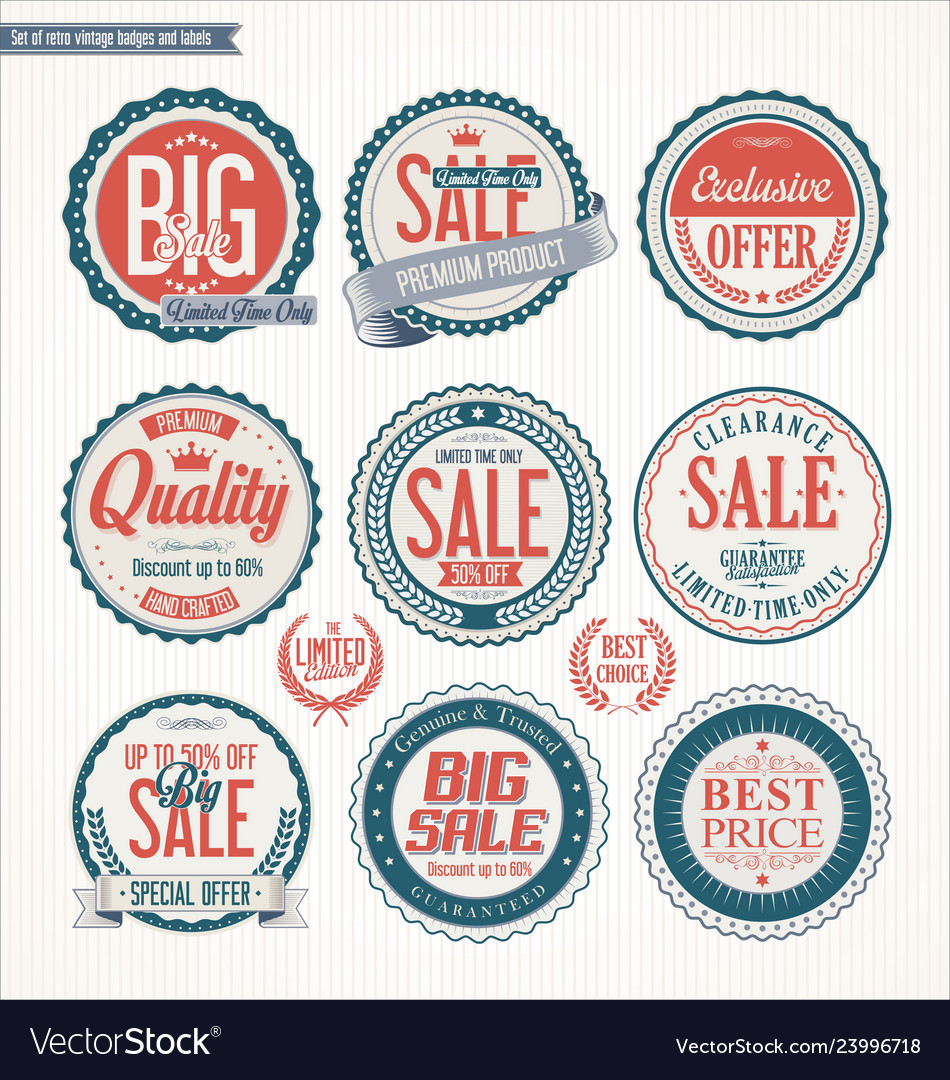 Set of retro vintage blue and red labels and