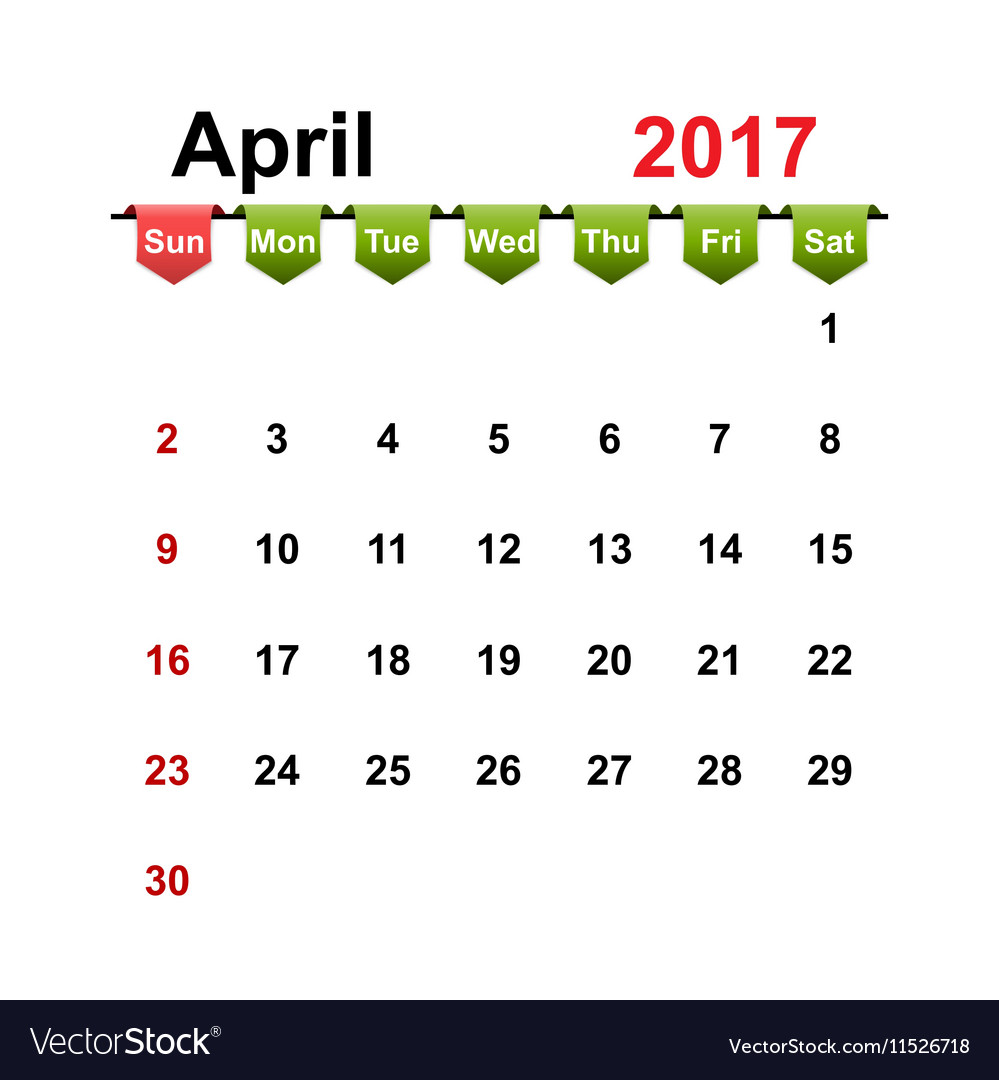 Simple calendar 2017 year april month