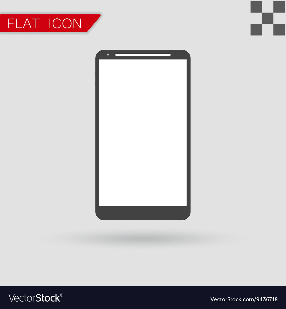 Smartphone icon Flat Style with red