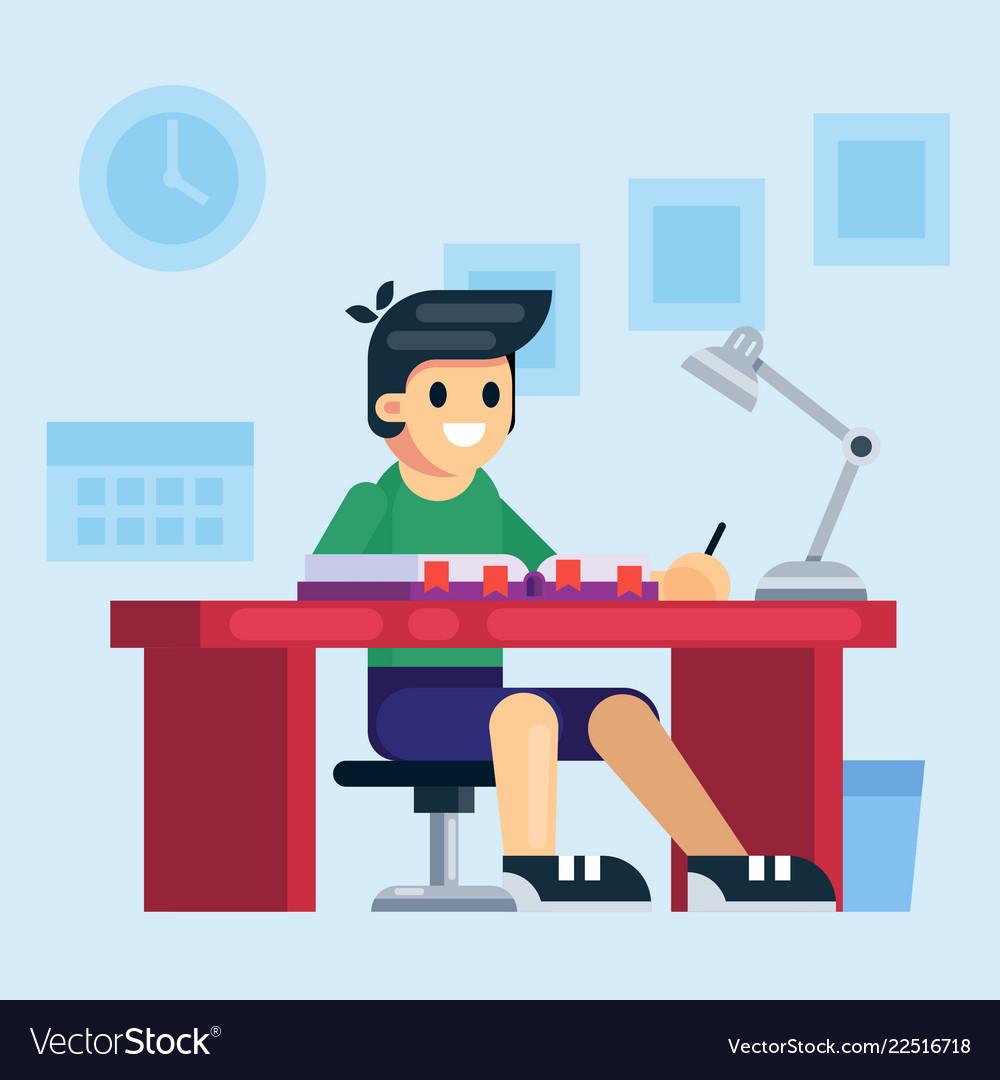 Student school or preschool kid boy studying
