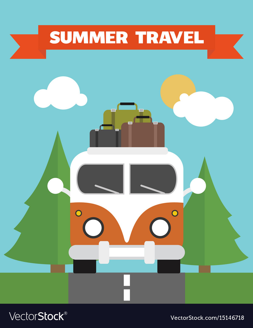 Summer travel flat background with bus vector image