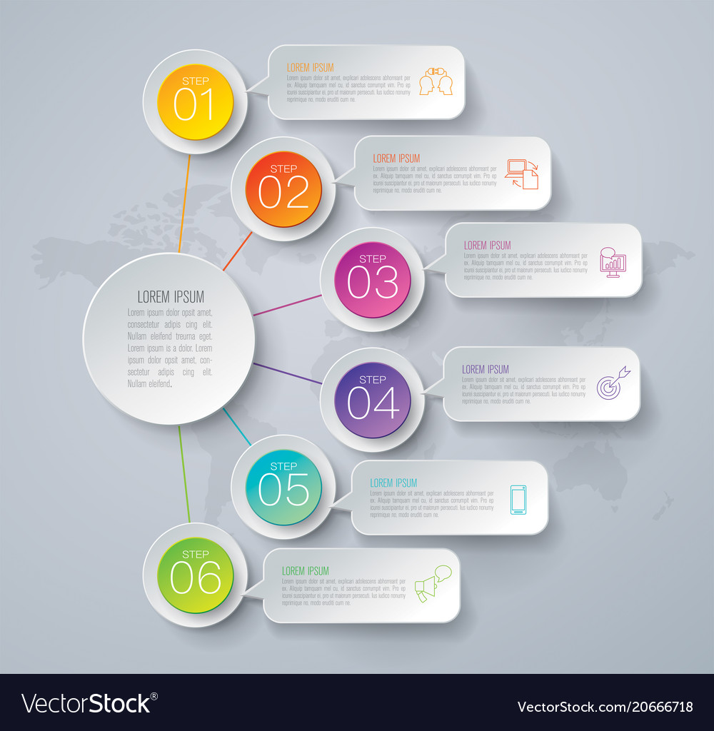 Timeline infographics design with 6 options
