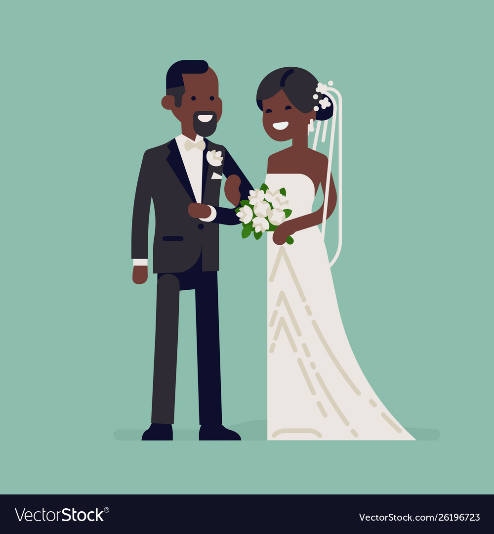 Black bride and groom characters