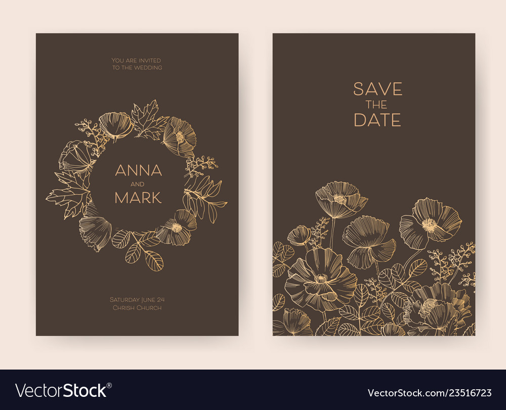 Bundle of floral save the date card and wedding