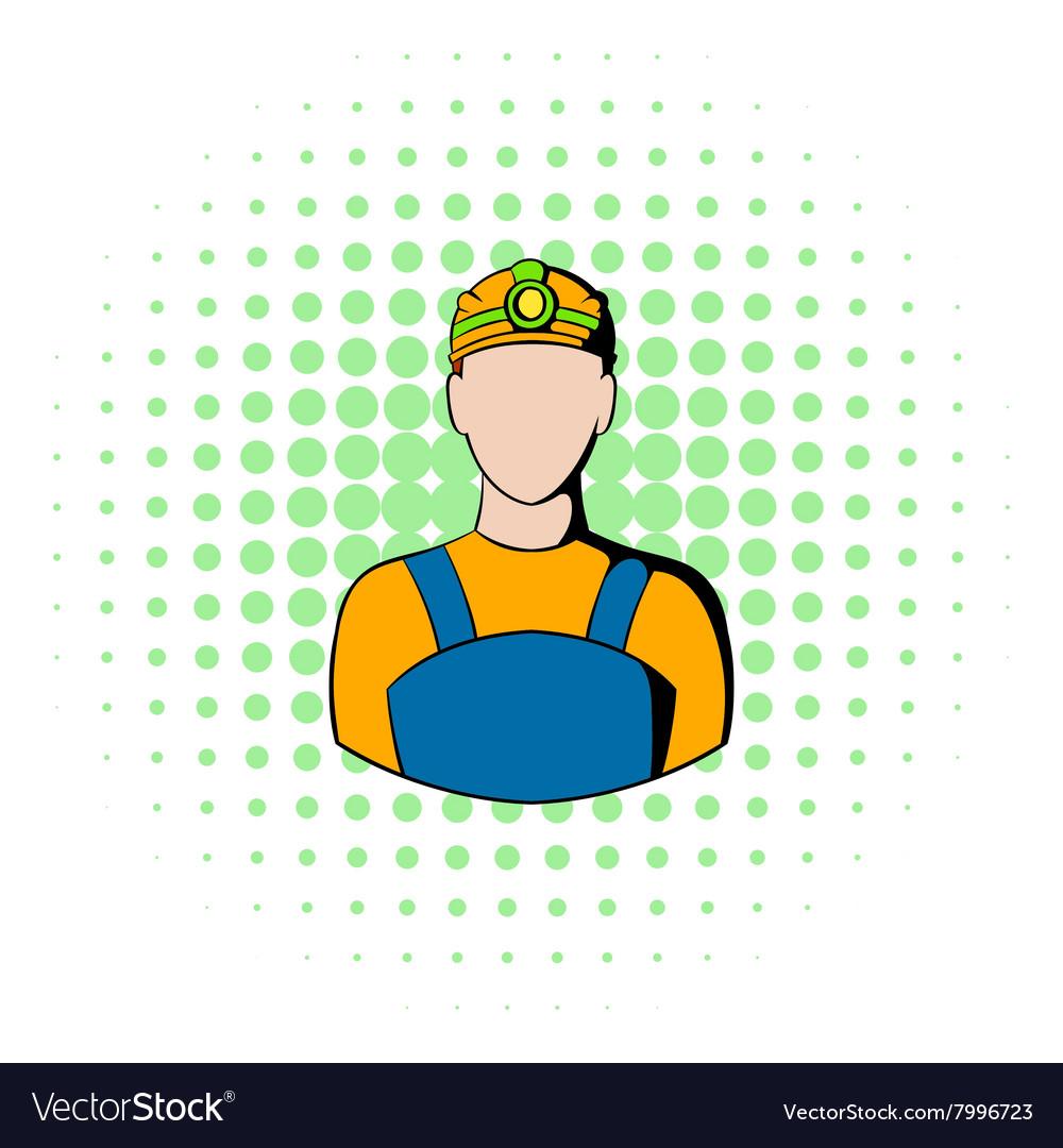 Coal miner icon comics style