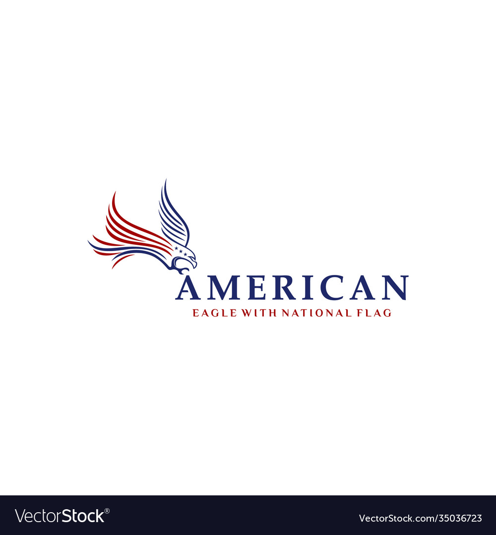 Eagle with american national flag logo design