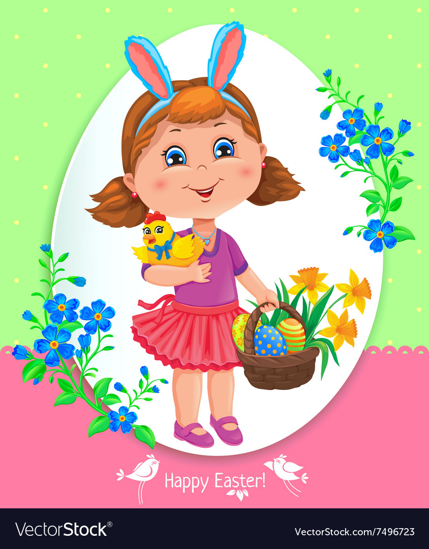 Easter card with girl vector image