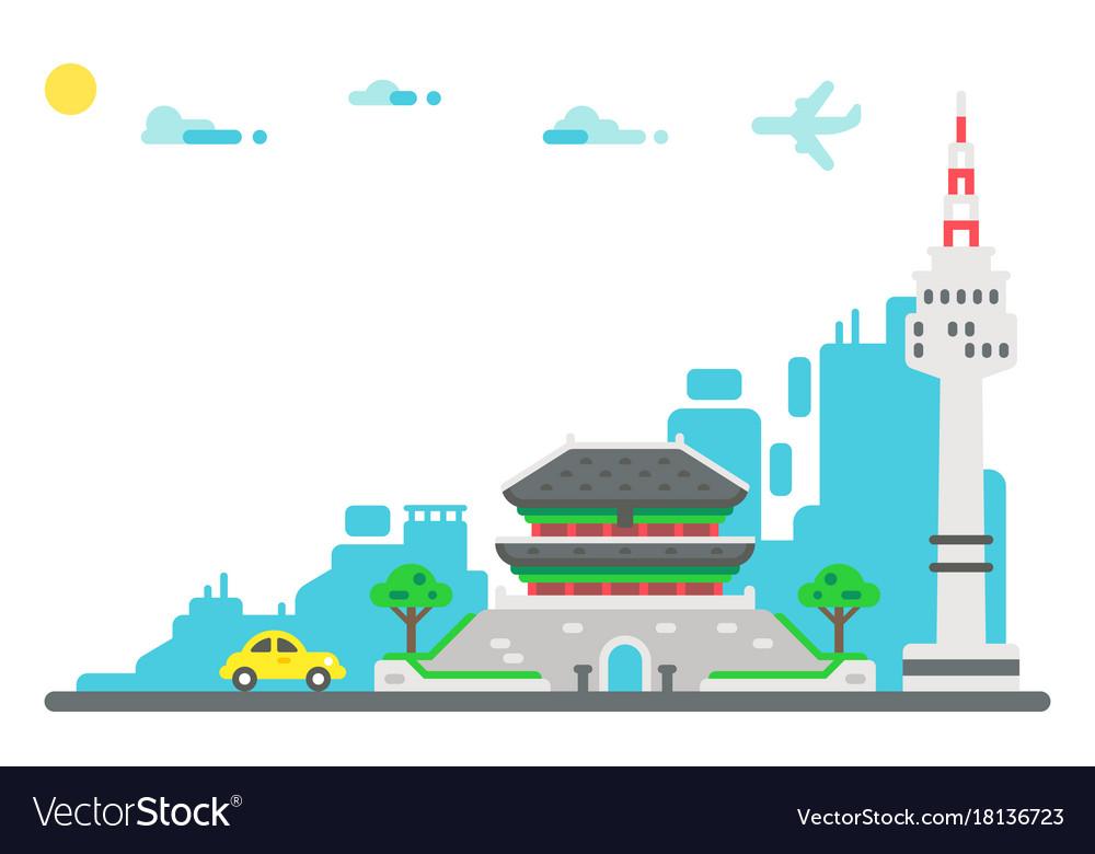 Flat design seoul landmarks set background