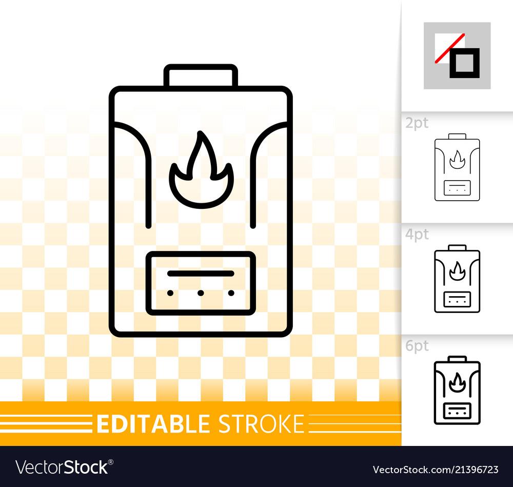 Gas boiler simple black line icon Royalty Free Vector Image
