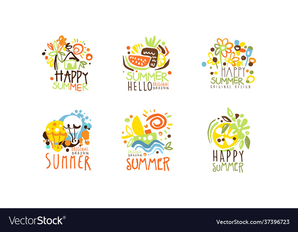 Happy summer logo original design collection