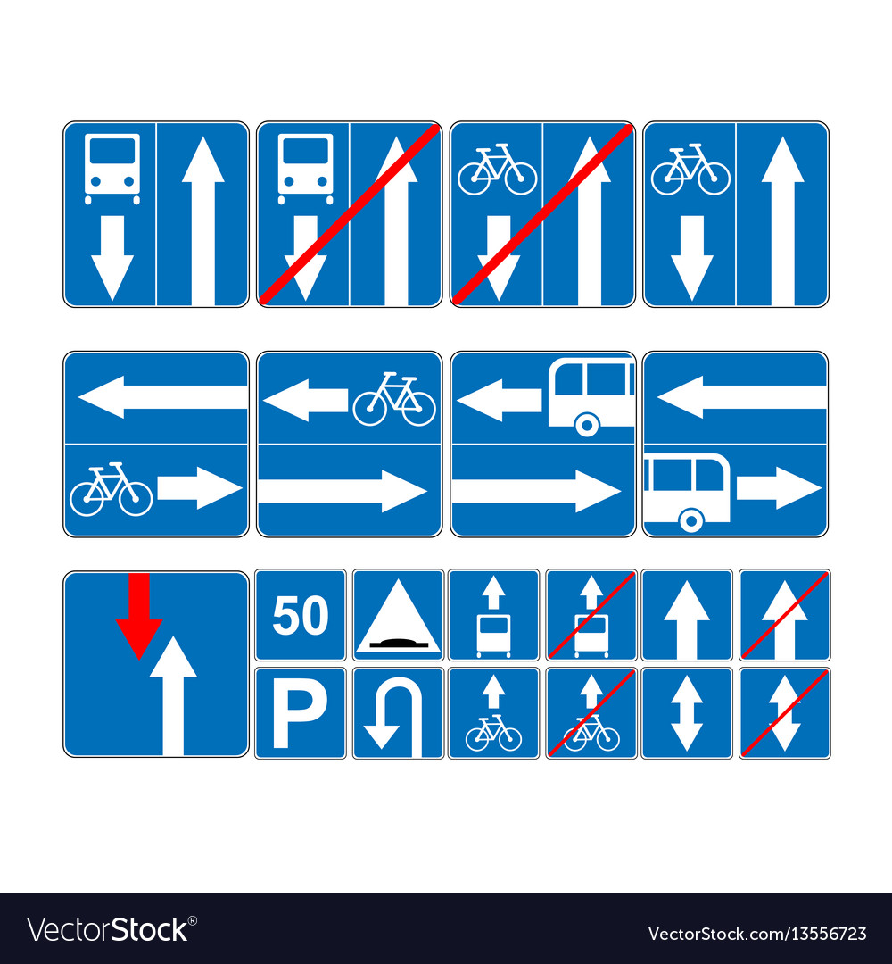 Informational road blue symbols set