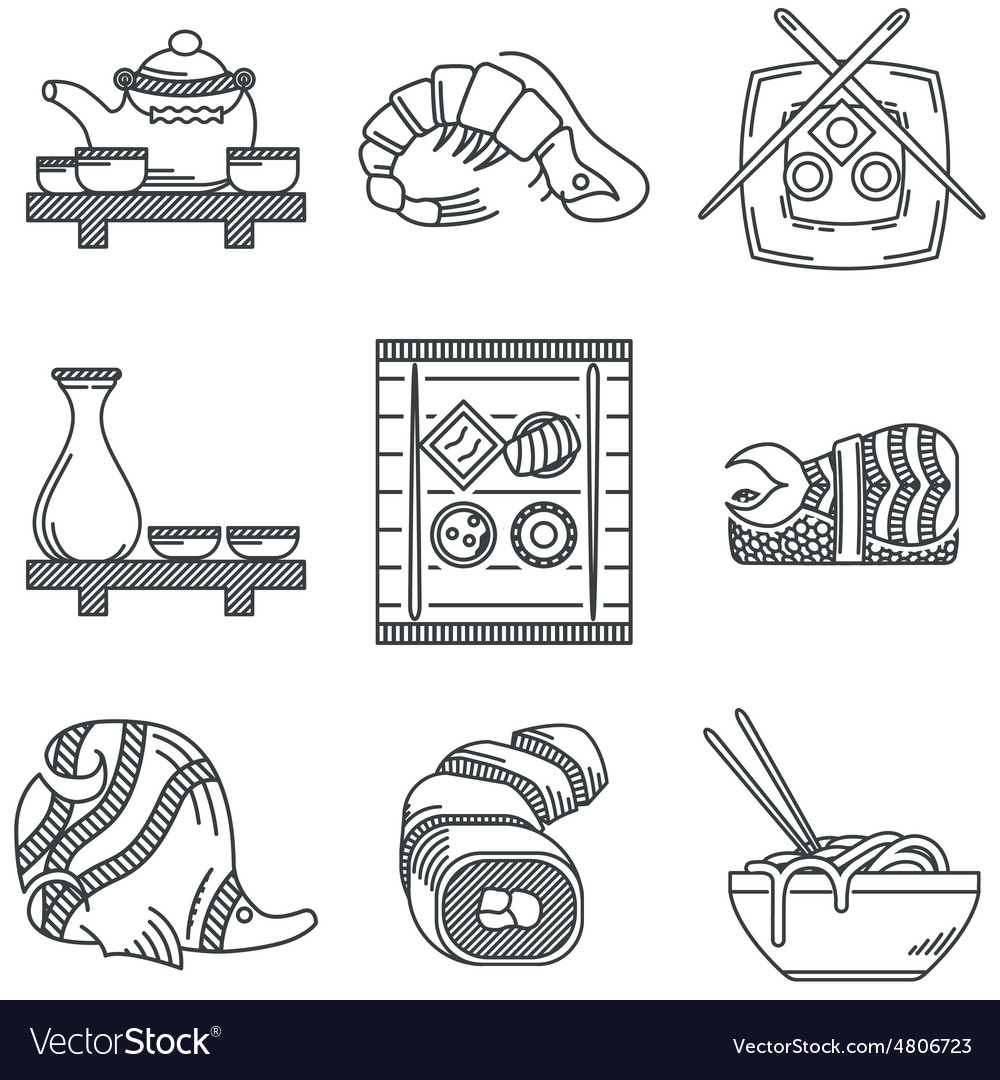 Japanese menu black line icons vector image