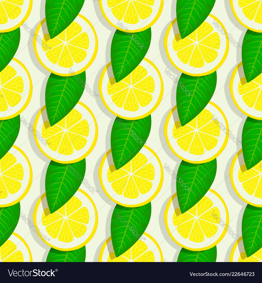 Lemon with green leaves seamless pattern