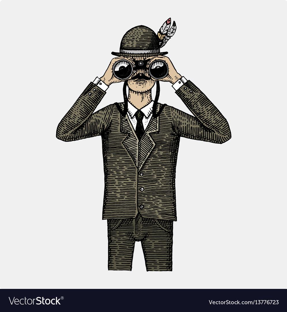 Man in costume looking through the binoculars