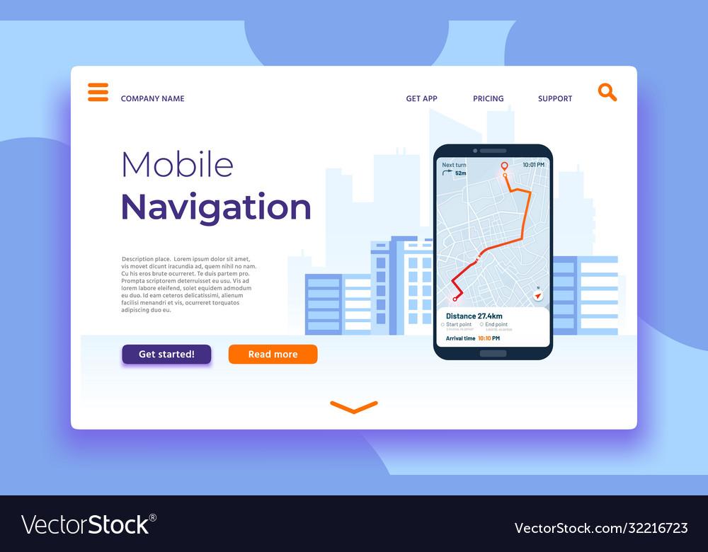 Mobile navigation landing page smartphone