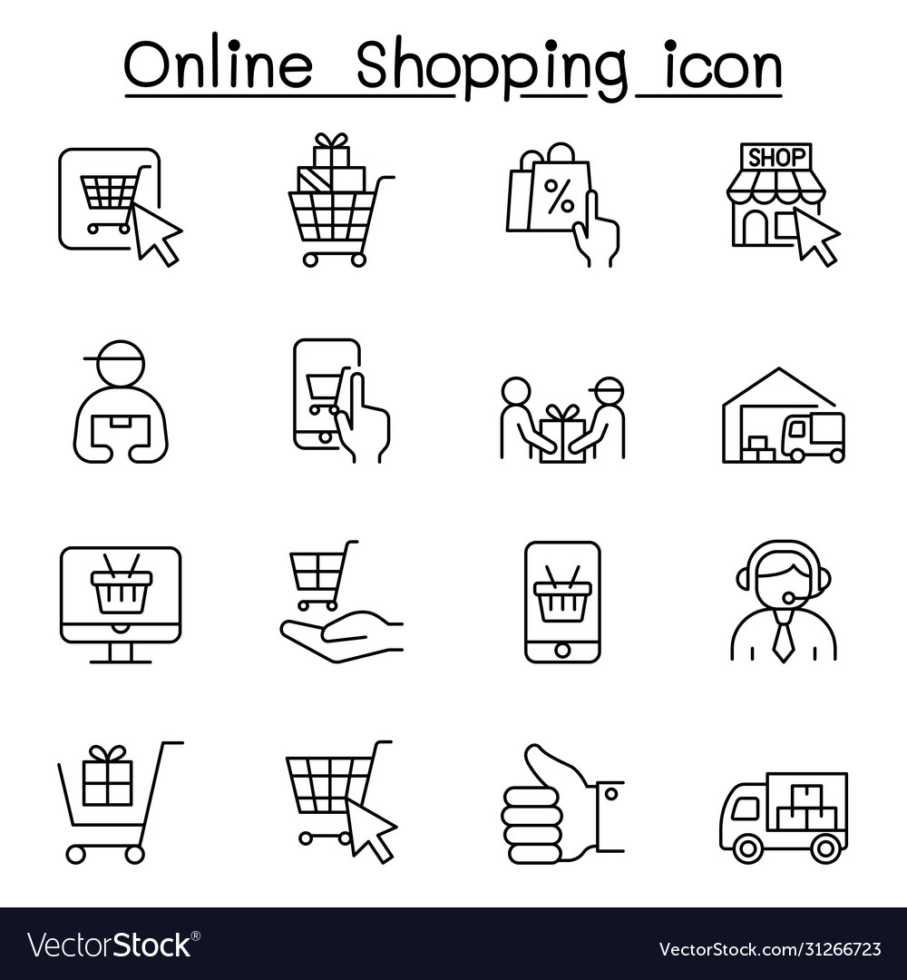 Online shopping icons set in thin line style vector
