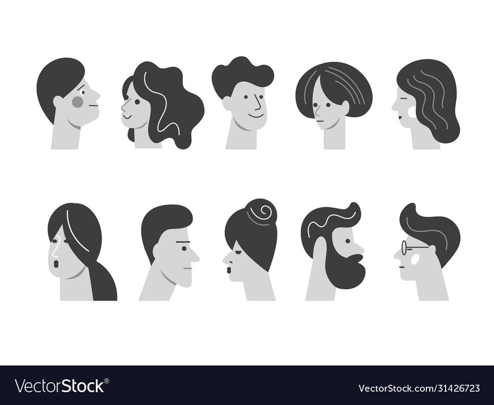 People avatar face icons set stylized portraites