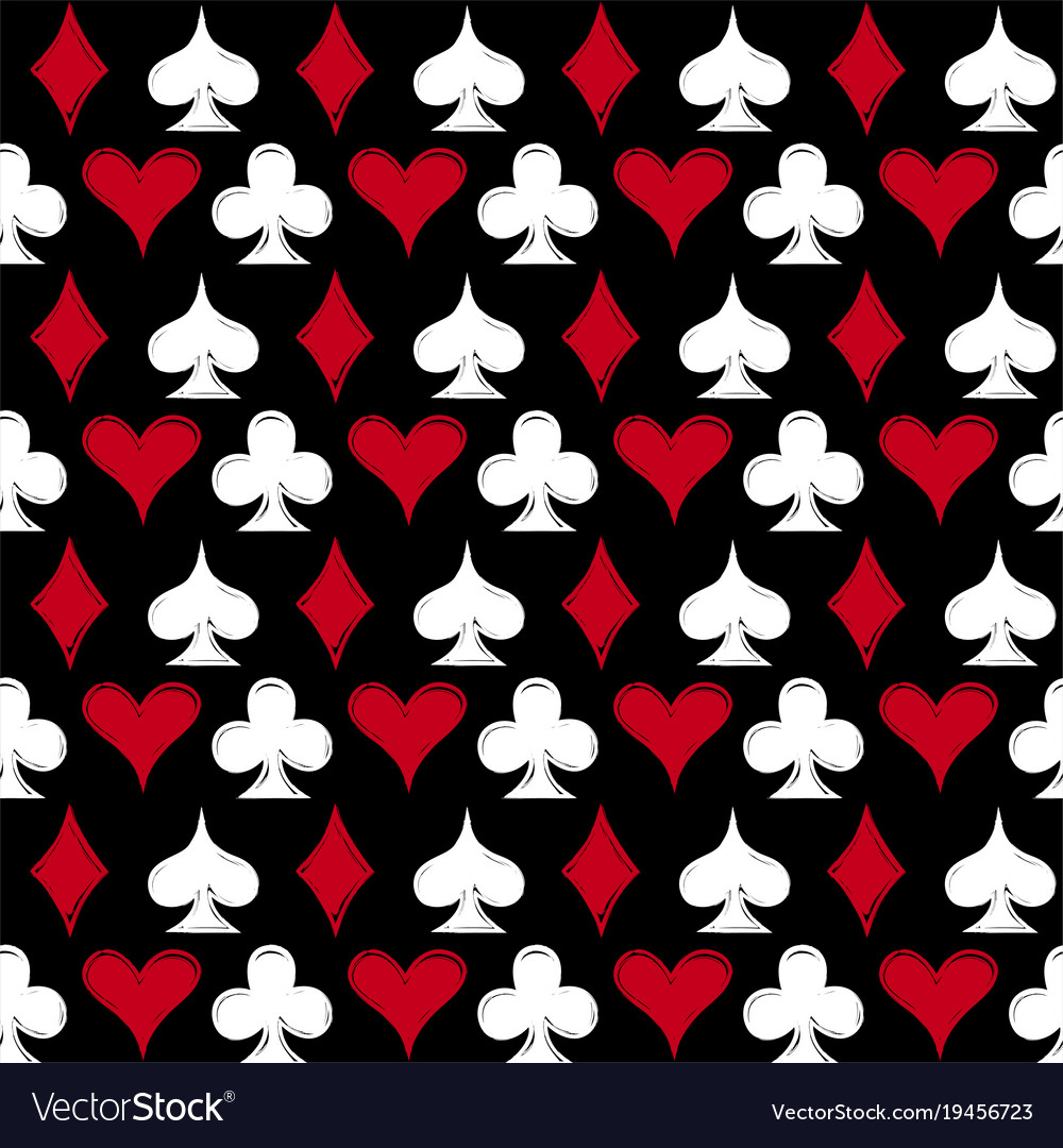 Playing card suits seamless pattern background