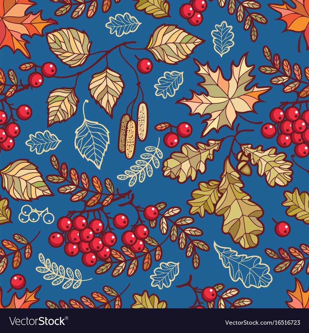 Seamless pattern autumn deciduous ornament