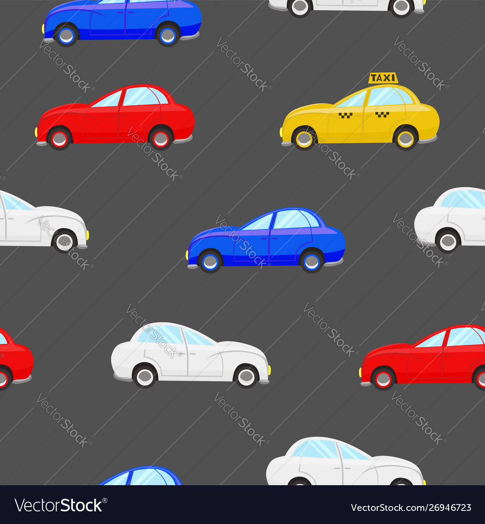 Seamless pattern with cars different color