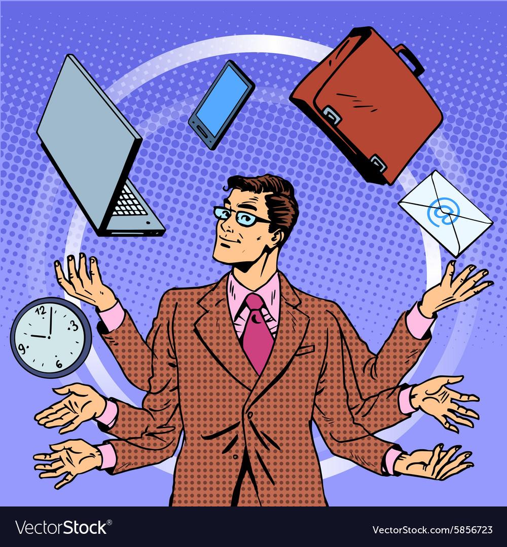 Time management businessman gadgets business