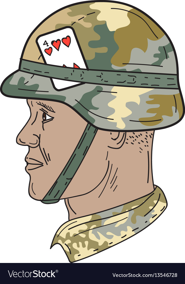 African american us army soldier helmet playing vector image