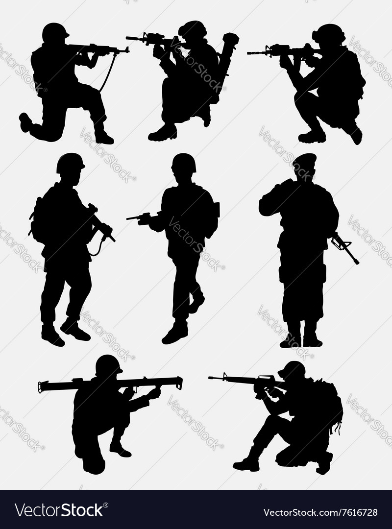Army military training action silhouette