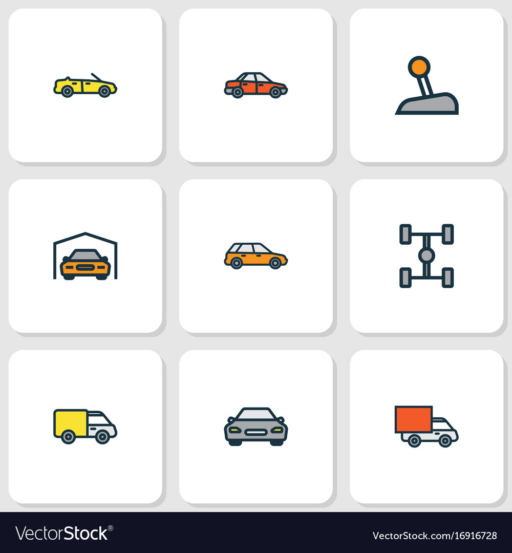 Automobile colorful outline icons set collection