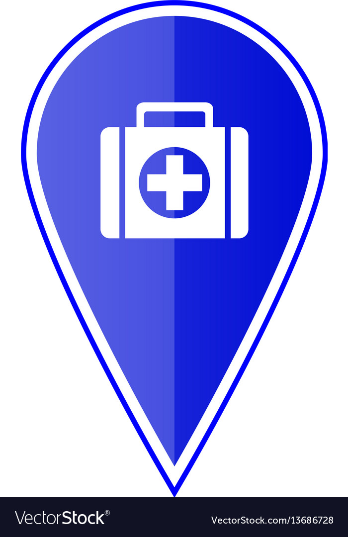 Blue map pointer with first aid kit