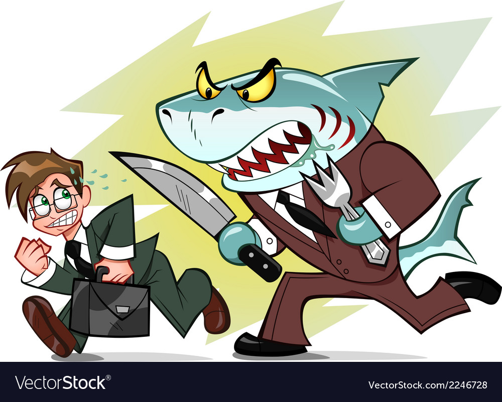 Businessman and business shark vector image