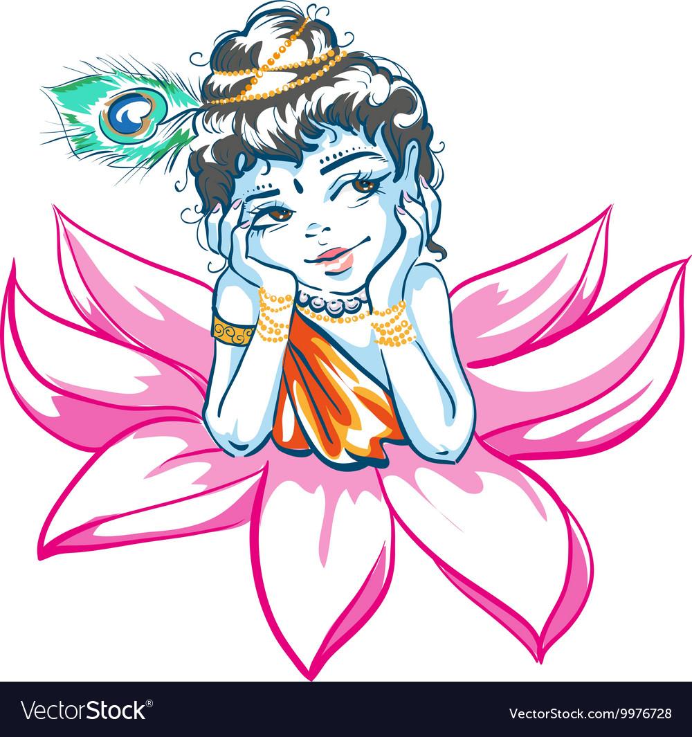 God Krishna In Lotus Flower Royalty Free Vector Image