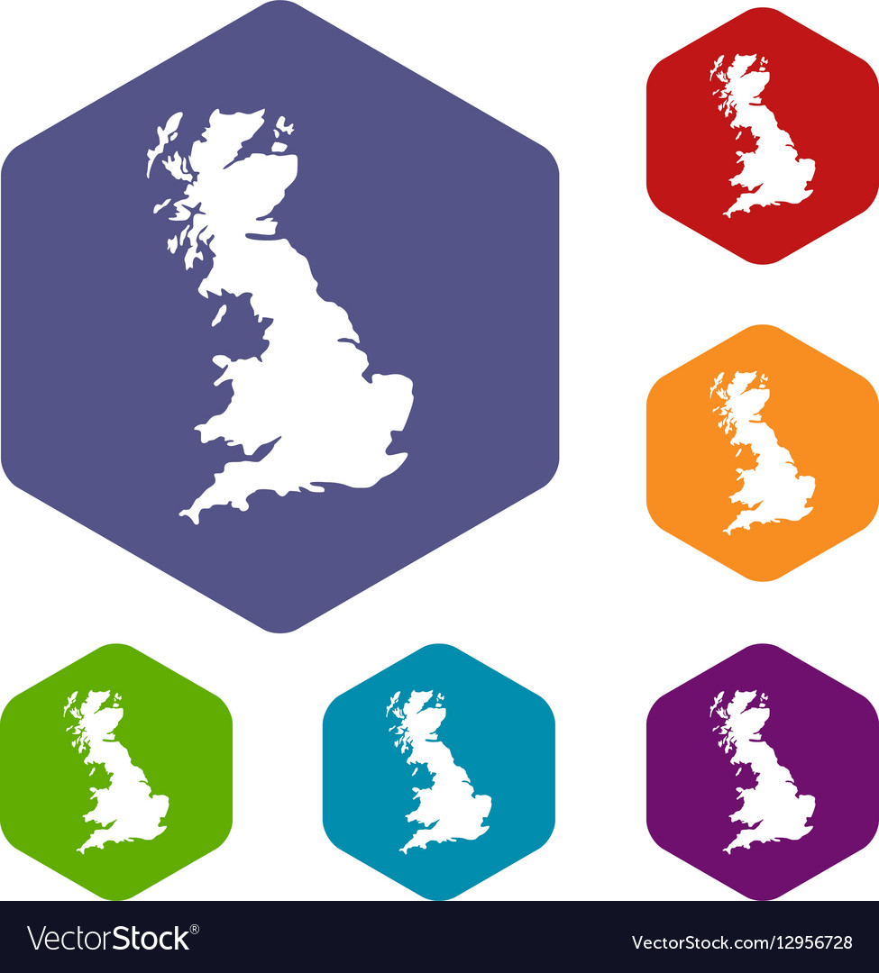 Map of Great Britain icons set