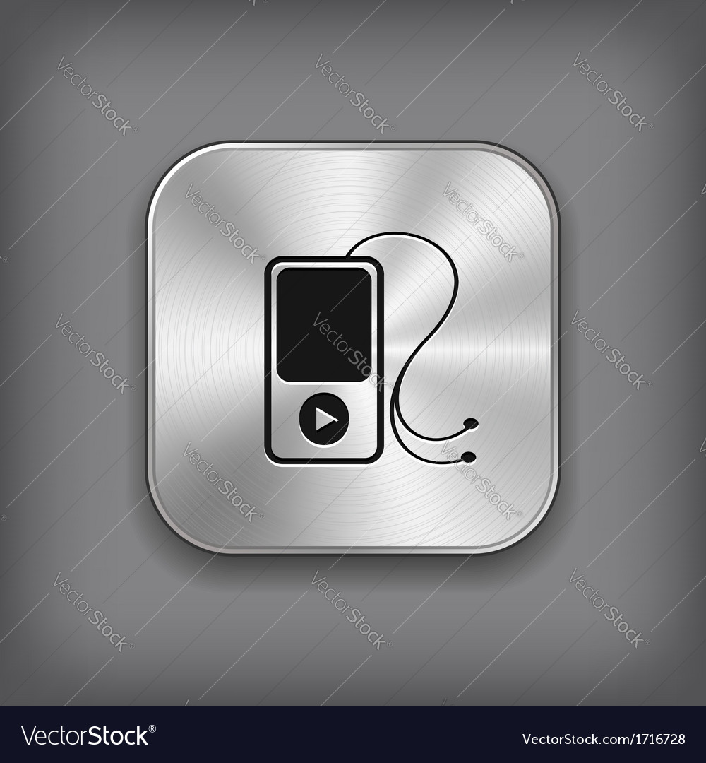 MP3 player icon - metal app button