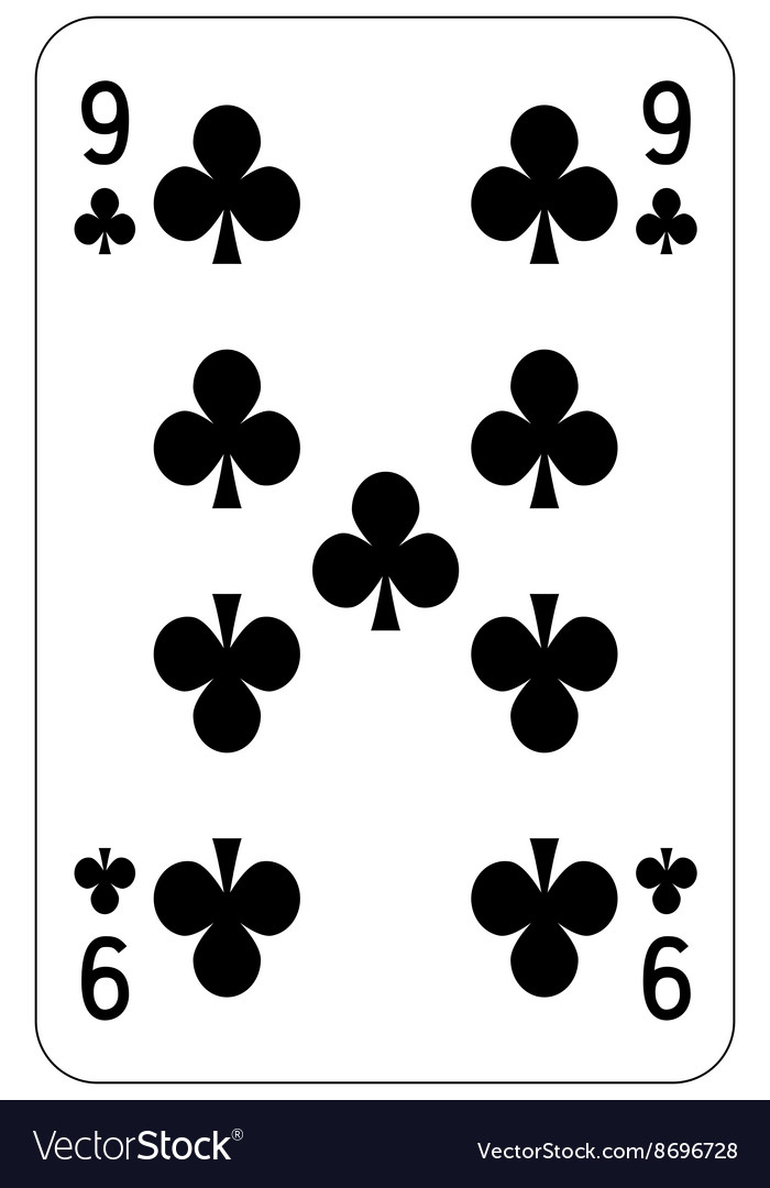 Poker playing card 9 club