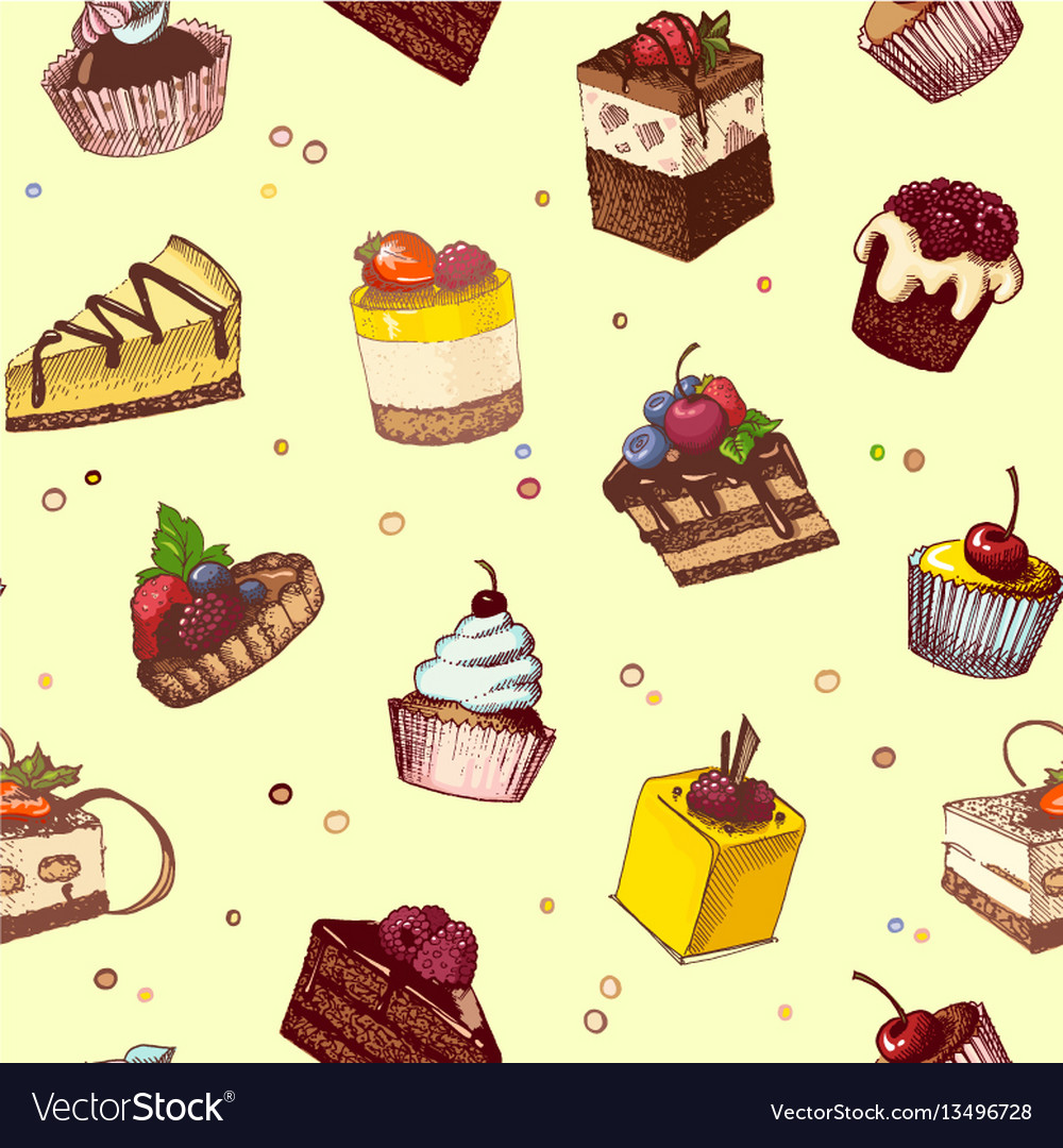Seamless background with sketches of cakes and